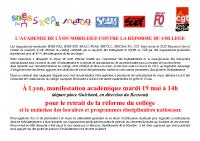 Communiqué académique SNES-SNEP-SNETAAFO-SNALC-SUD-SNFOLC-CGT Lyon – Grève 19 mai